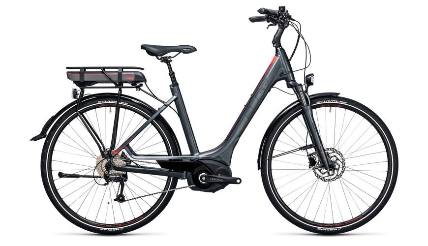 Cube Touring Hybrid 400 Elcykel Trekking Easy Entry grå
